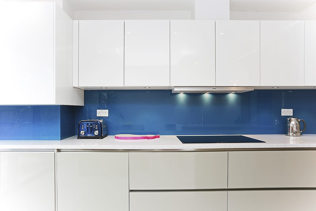 Topaz Blue Glass Splashback 2 - Hanson Electrical Kitchens, Hull